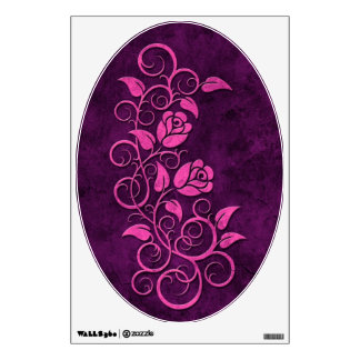 Swirling Stone Roses, purple Wall Sticker