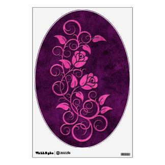 Swirling Stone Roses, purple Wall Sticker