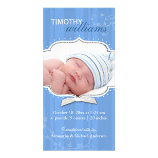 Swirling Stripe Baby Boy Photo Birth Announcements Photo Cards