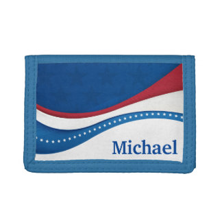 Swirling Stripes and Stars Personalized Tri-fold Wallets