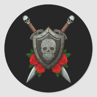 Swirling Sugar Skull Shield and Swords with Roses Classic Round Sticker