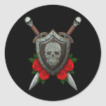 Swirling Sugar Skull Shield and Swords with Roses Stickers