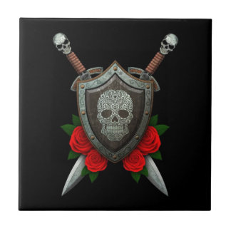 Swirling Sugar Skull Shield and Swords with Roses Ceramic Tiles