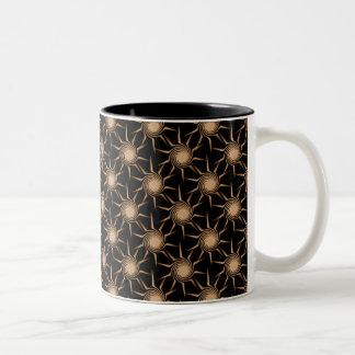 Swirling Suns Mug, Sparkling Gold Two-Tone Coffee Mug