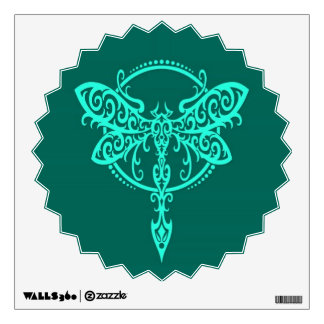 Swirling Teal Blue Dragonfly Wall Decal