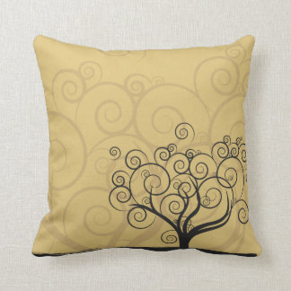 Swirling Tree in Gold and Brown Pillow