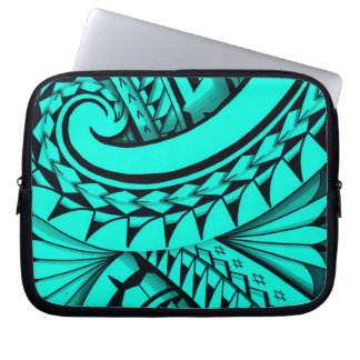 Swirling tribal patterns triangles in Polyart Laptop Sleeves