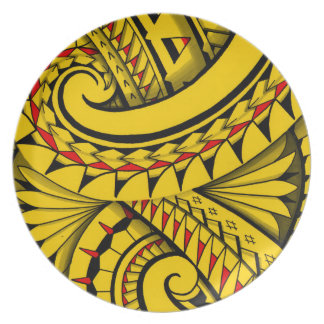 Swirling tribal patterns triangles in Polyart Plate