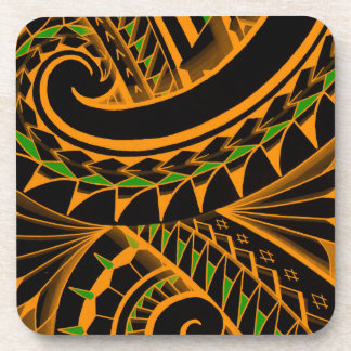 swirling tribal polynesian tatoos in bright colors beverage coaster