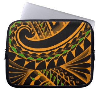 swirling tribal polynesian tatoos in bright colors computer sleeve