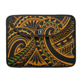 swirling tribal polynesian tatoos in bright colors sleeves for MacBooks