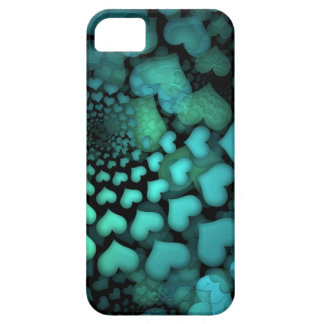 Swirling Turquoise Hearts Fractal Art iPhone 5 Cover