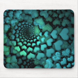 Swirling Turquoise Hearts Fractal Art Mouse Pad