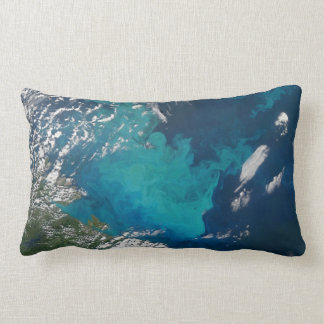 Swirling Turquoise Marine Bloom Throw Pillow