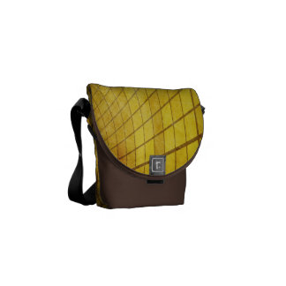 SWIRLING TWISTING SQUARES STRIPES YELLOW VORTEX DI COURIER BAG