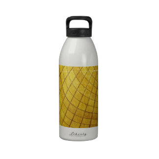 SWIRLING TWISTING SQUARES STRIPES YELLOW VORTEX DI REUSABLE WATER BOTTLE