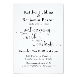 Swirling Typography Post-Wedding Reception Only Card