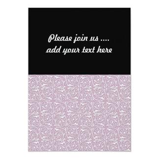 Swirling Vine Pattern White over Rose 5x7 Paper Invitation Card