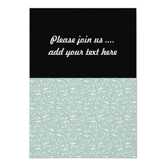 Swirling Vines in Pale Sage Green and White 5x7 Paper Invitation Card