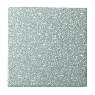 Swirling Vines in Pale Sage Green and White Ceramic Tile