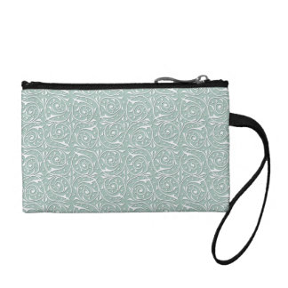 Swirling Vines in Pale Sage Green and White Change Purse