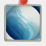 Swirling winds on the blue planet christmas tree ornaments