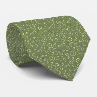 Swirls Abstract Foulard Moss Green Two-sided Tie