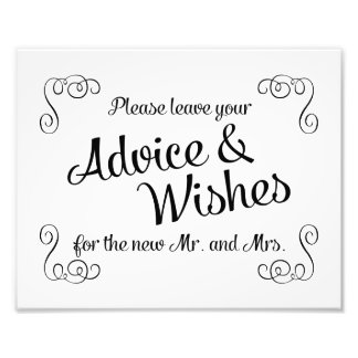 Swirls Advice and Wishes Wedding Print