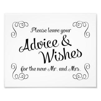 Swirls Advice and Wishes Wedding Print Photo Print