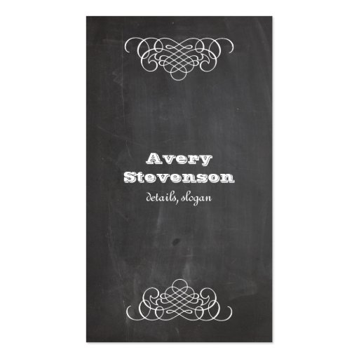 Swirls and Chalkboard Vintage Style Cool Black Business Card Template