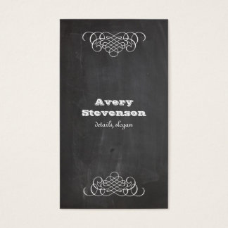 Swirls and Chalkboard Vintage Style Cool Black Business Card