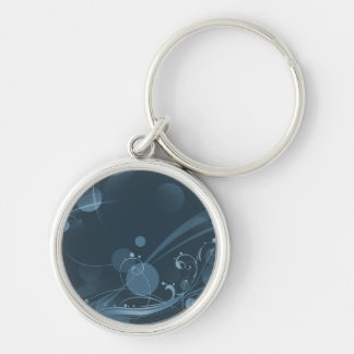 SWIRLS AND CIRCLE DOTS DARK BLUE KEYCHAIN