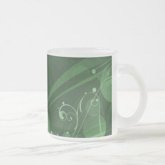 SWIRLS AND CIRCLE DOTS DARK GREEN FROSTED GLASS COFFEE MUG