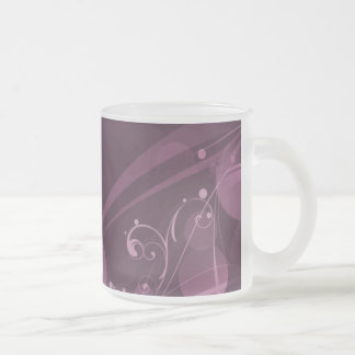SWIRLS AND CIRCLE DOTS DARK PINK FROSTED GLASS COFFEE MUG