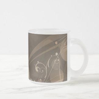 SWIRLS AND CIRCLE DOTS DARK SEPIA FROSTED GLASS COFFEE MUG