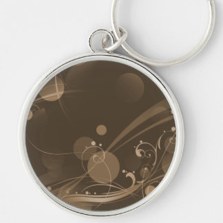 SWIRLS AND CIRCLE DOTS DARK SEPIA Silver-Colored ROUND KEYCHAIN