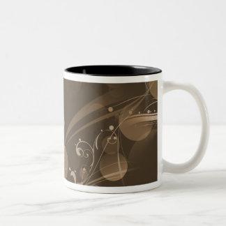 SWIRLS AND CIRCLE DOTS DARK SEPIA Two-Tone COFFEE MUG