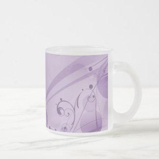 SWIRLS AND CIRCLE DOTS LIGHT PURPLE FROSTED GLASS COFFEE MUG