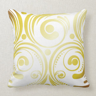 Swirls and Dots Gold Throw Pillow