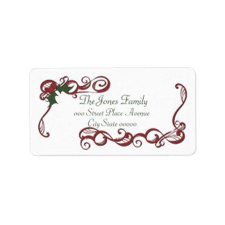 Swirls and Holly Custom Address Labels