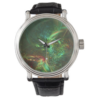 Swirls and Motion Fractal Watch with Vintage Strap