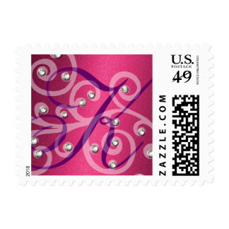 Swirls and Pearls Pink Shimmer Monogram Initial Postage