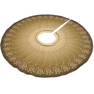 Swirls Array Gold on Gold Brushed Polyester Tree Skirt