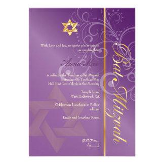 Swirls Bat Mitzvah plum gold Invitations