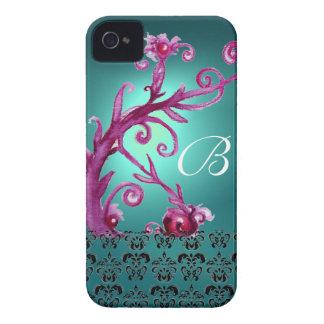 SWIRLS, BERRIES DAMASK MONOGRAM pink black blue iPhone 4 Cover