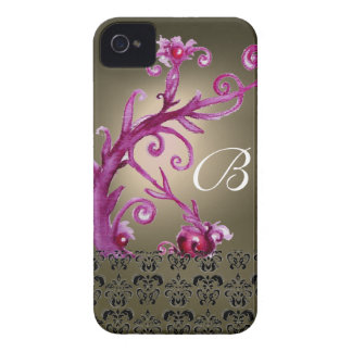 SWIRLS, BERRIES DAMASK MONOGRAM pink black grey Case-Mate iPhone 4 Case