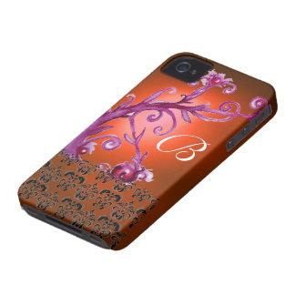 SWIRLS, BERRIES DAMASK MONOGRAM pink black  orange iPhone 4 Case-Mate Case