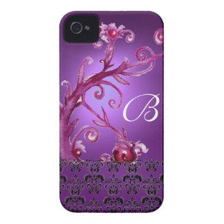 SWIRLS, BERRIES DAMASK MONOGRAM pink black purple Case-Mate iPhone 4 Case