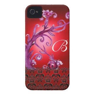 SWIRLS, BERRIES DAMASK MONOGRAM pink black red iPhone 4 Case-Mate Case