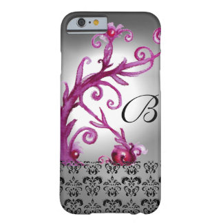 SWIRLS, BERRIES DAMASK MONOGRAM pink ,white black Barely There iPhone 6 Case